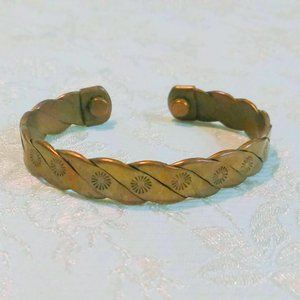 Vintage Embossed Twisted Copper Cuff Bracelet